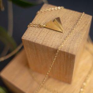 collier origami laiton